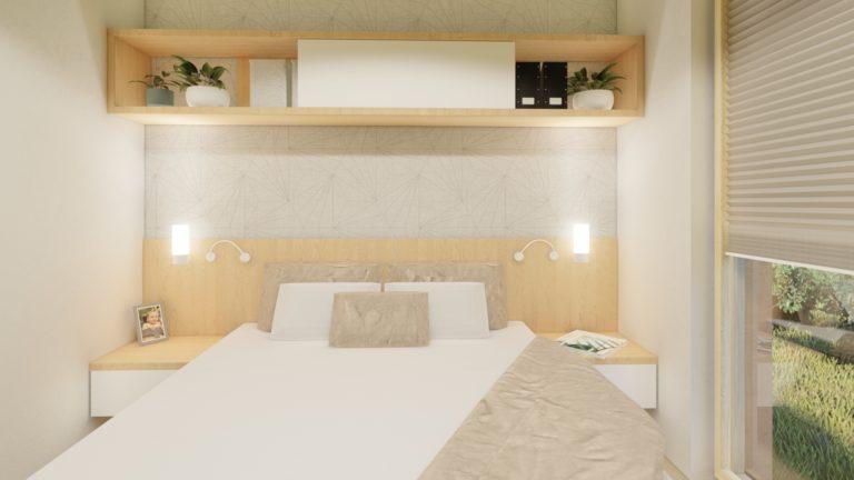 spálňa v modulovom drevodome | emter.sk