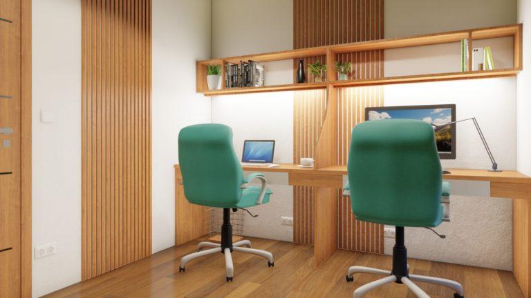 interiér kancelárie v mobilnom drevodome | emter.sk
