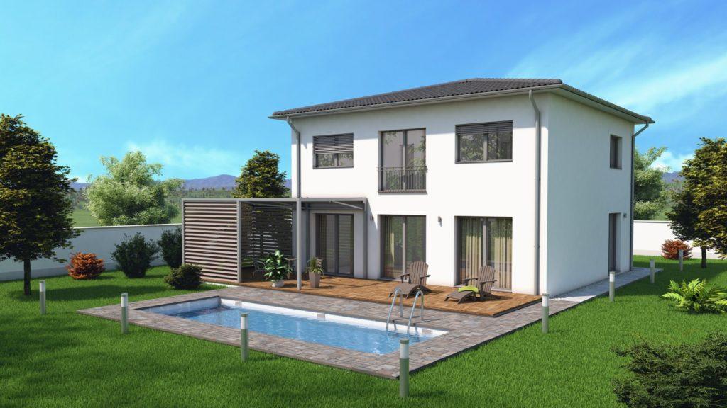 model pasívneho domu s bazénom a záhradkou