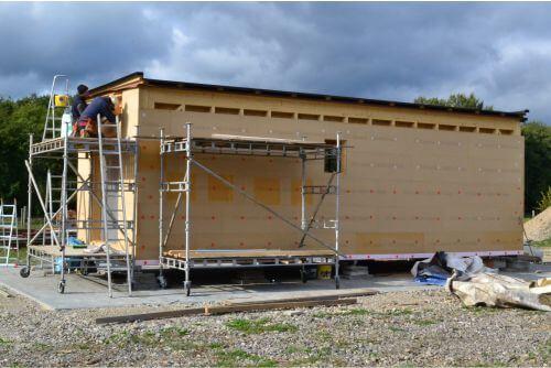 dreveny mobilný dom stavba