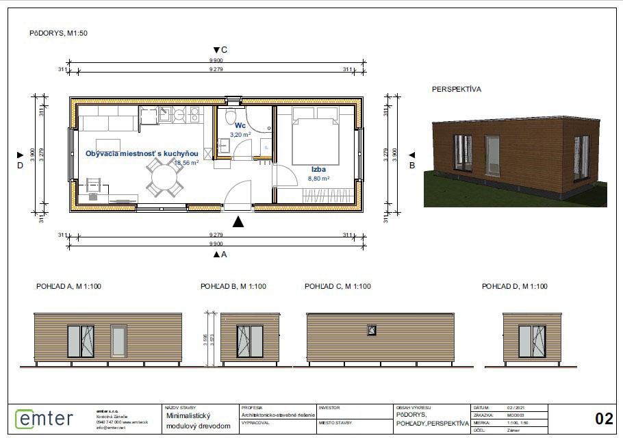 modulový drevodom - návrh minimalistického eko domu